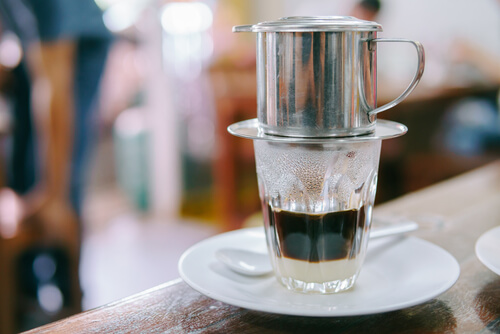 Vietnamese Coffee Drips onto Sweet Condesned Milk