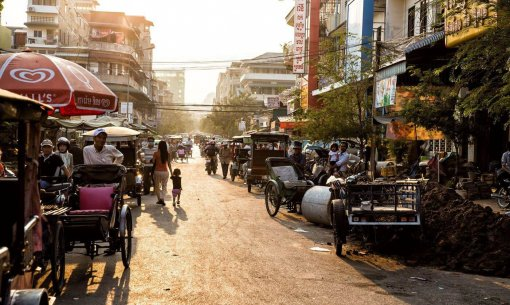Phnom Penh in Cambodia Early Morning