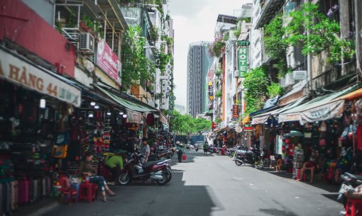 A footwear street right beside Ben Thanh Market